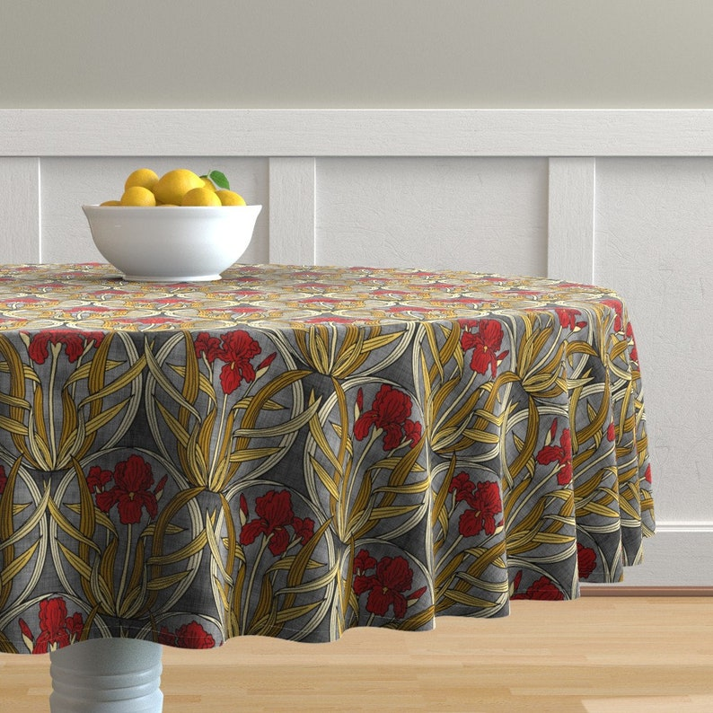 Floral Round Tablecloth   Red Iris Nouveau By Pond_ripple   Art Deco Spring  Summer Garden Cotton Sateen Circle Tablecloth By Spoonflower