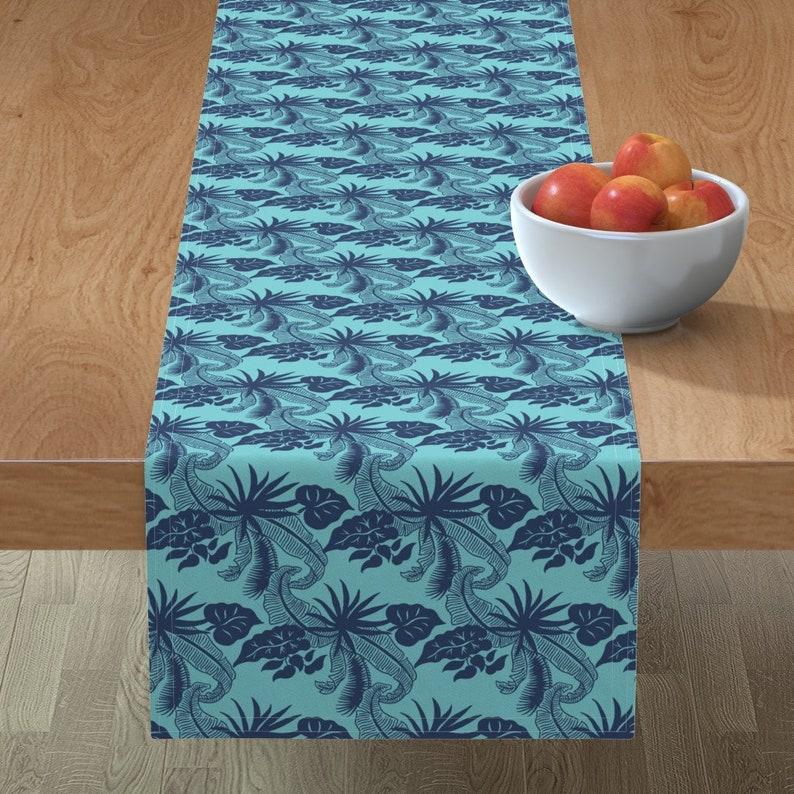 Tropical  Beach Jungle Hawaii Indigo Cotton Sateen Table Runner by Spoonflower Tiki Table Runner Banana Leaves Turquoise by muhlenkott