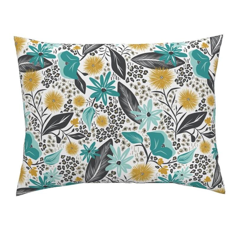 Wild Girl Animal Print Cotton Sateen Pillow Sham Bedding by Spoonflower White /& Teal  by heatherdutton Floral Pillow Sham