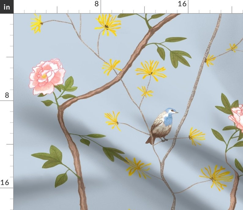 Jenny Peony In Cornflower by domesticate Chinoiserie Sheets Asian Inspired  French Garden Cotton Sateen Sheet Set Bedding by Spoonflower