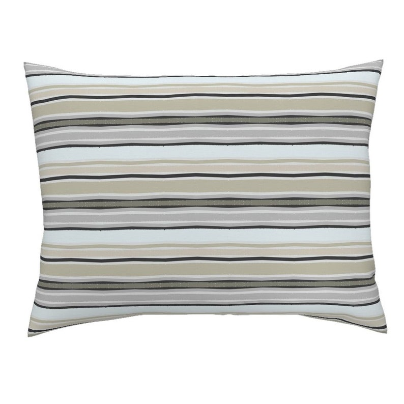 Beach Pillow Sham Neutral Stripes Fall Tan Grey White Cotton Sateen Pillow Sham Bedding by Spoonflower Stripes Of Fall by jessica/_barber