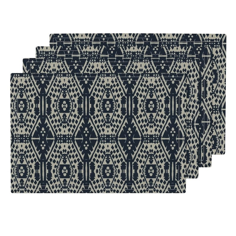 Set of 4 Block Print Placemats Tribal Cloth Placemats by Spoonflower - Blue Block Print by alison/_janssen