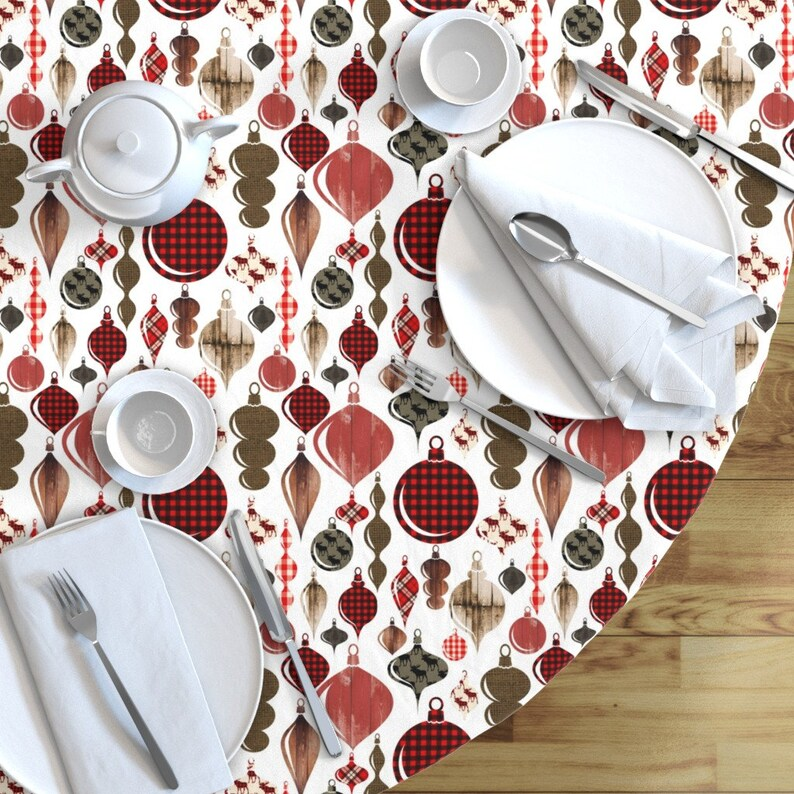 Christmas Round Tablecloth Woodland  Cotton Sateen Circle Tablecloth by Spoonflower Lumberjack Christmas Ornament by greenmountainfabric