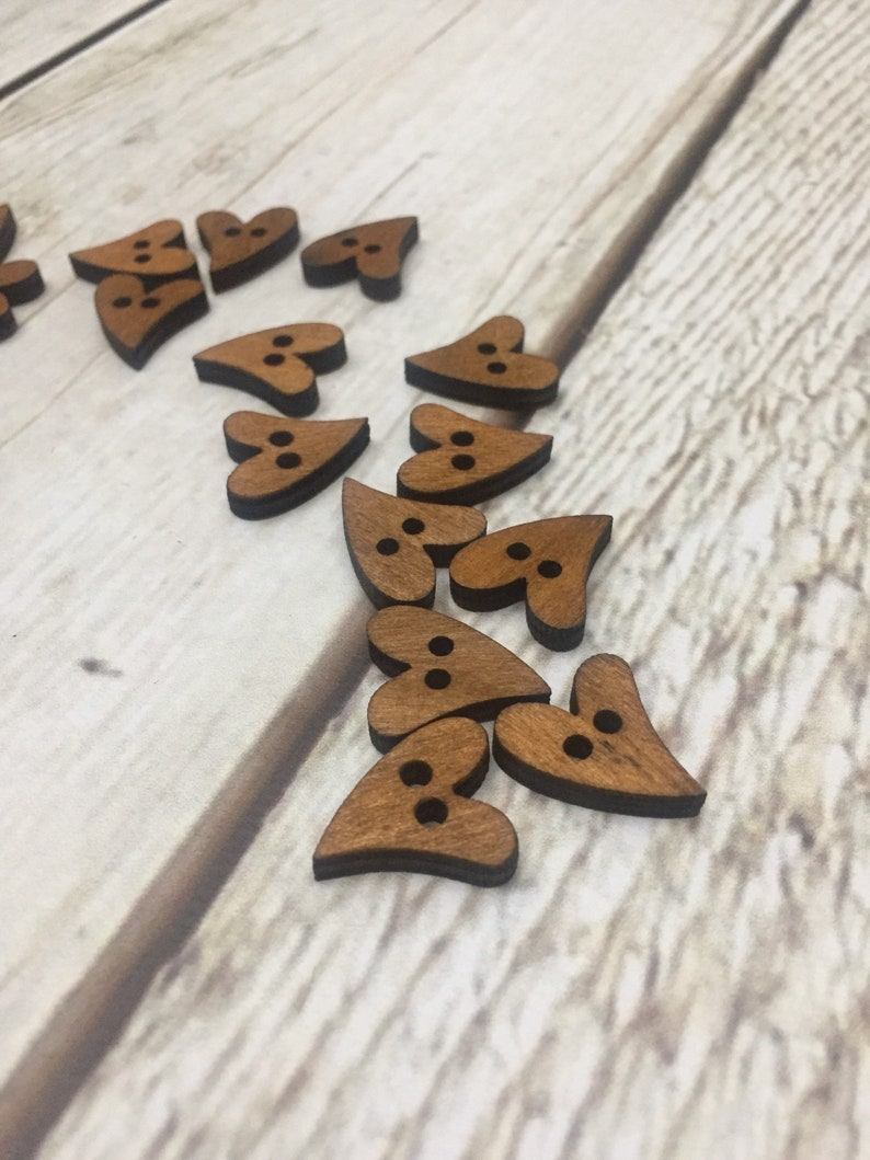 WOODEN BUTTONS heart shaped wooden buttons/ craft buttons/ image 0
