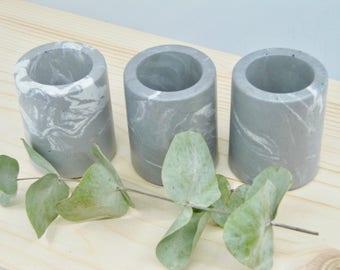 Grey and white marbled concrete mini pots TRIO, set of 3 mini concrete vessels, succulent planters, marbled concrete cactus pots