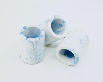 White and blue marbled concrete mini pots TRIO, set of 3 mini concrete vessels, succulent planters, marbled concrete cactus pots