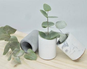Mini concrete pots trio, set of 3 mini concrete vessels, succulent planters, cactus pots
