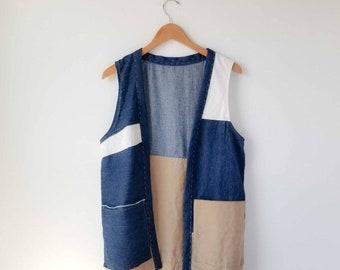 Patchwork vest, large pockets, modern improv piecing, upcycled, hemp cotton canvas, slow fashion