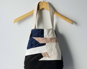 Patchwork, quilted tote bag - modern, improv piecing, handstitched, upcycled, reclaimed materials, cotton, hemp canvas