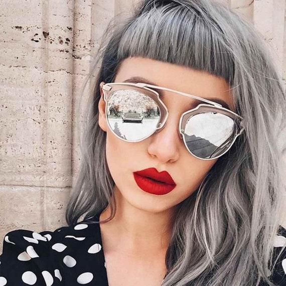 Black Silver Frame Gradient Lens Fancy Shades Round Women Sunglasses Fashion Gafas de Sol