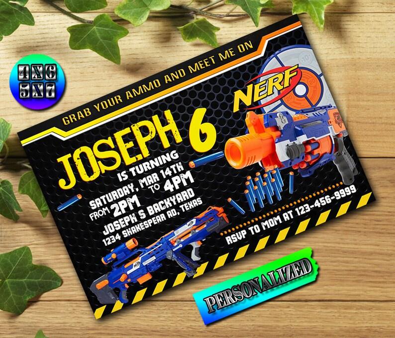 Nerf, Nerf Invitation, Grab Your Nerf Gun, Ammo, Nerf Party, Nerf Birthday,  Nerf Gun, Nerf War, Boy Invitation _UF0235