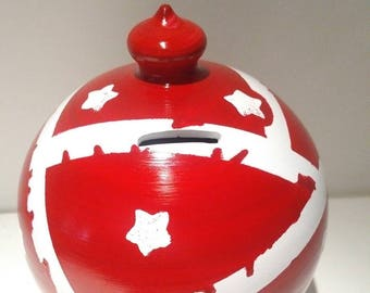 Large piggy bank for adults, money tin, coin bank collectors, travel fund, Patriotic Piggy bank, American flag, stars and stripes, Americana