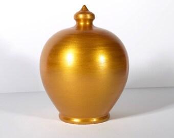 Gold Piggy Bank, Golden Coin bank, Moneybox, Wedding fund, Gold Pottery, Home decor, Travel fund money box, Money Tin, decorative coin bank