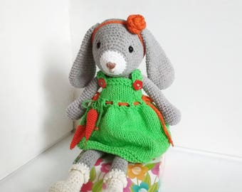 Crochet Easter bunny Mothers day Gift for mother Gift for daughter New Baby Shower toy Baby girl Easter Rabbit plush Stuffed bunny doll toy