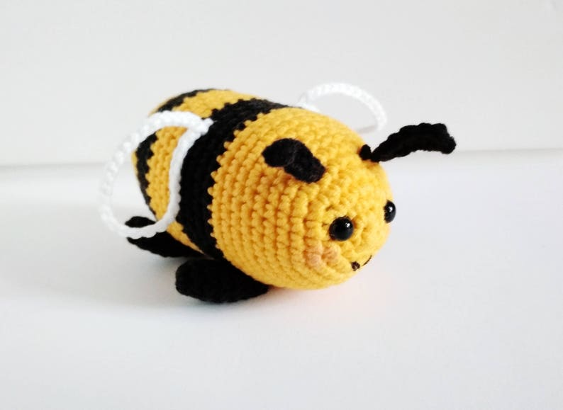 Bumble bee Plush gift for kids Stuffed animal 2 year old birthday Honey  Crochet bee Baby shower Save the bees Bumblebee toy Nursery decor