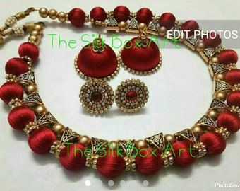 Silk Thread Jewelry Set with Jhumkas Red /Green/Golden/Parrote green/white-Handmade Indian Jewelry