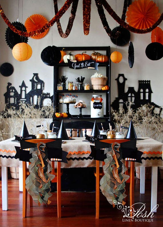 Incredible Halloween Chair Sashes Black Orange Set Of 10 Only 99 99 Pre Made And Ready To Ship Today Caraccident5 Cool Chair Designs And Ideas Caraccident5Info