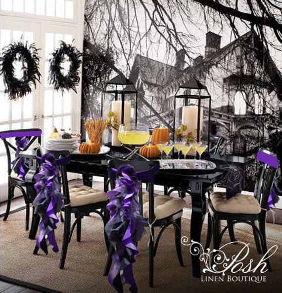 Super Halloween Chair Sashes Black Purple Set Of 6 Only 59 99 Pre Made And Ready To Ship Today Caraccident5 Cool Chair Designs And Ideas Caraccident5Info
