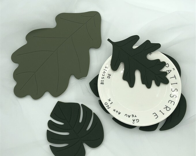 4 PcsSet Irregular Silicone Leaf Coasters Heat-resistant Cup Plate Mats Nonslip Place Mats Pads Home Table Decoration