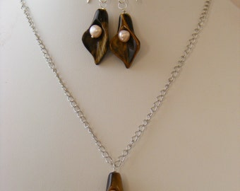 Necklace and Earrings - Genuine Gemstones and Pearls