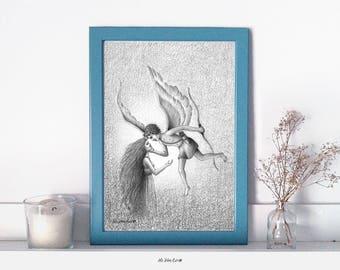 Lámina ilustrada A4 - Ilustración de Fantasía - Mitos y Leyendas - Eros y Psique - Decoración de Pared