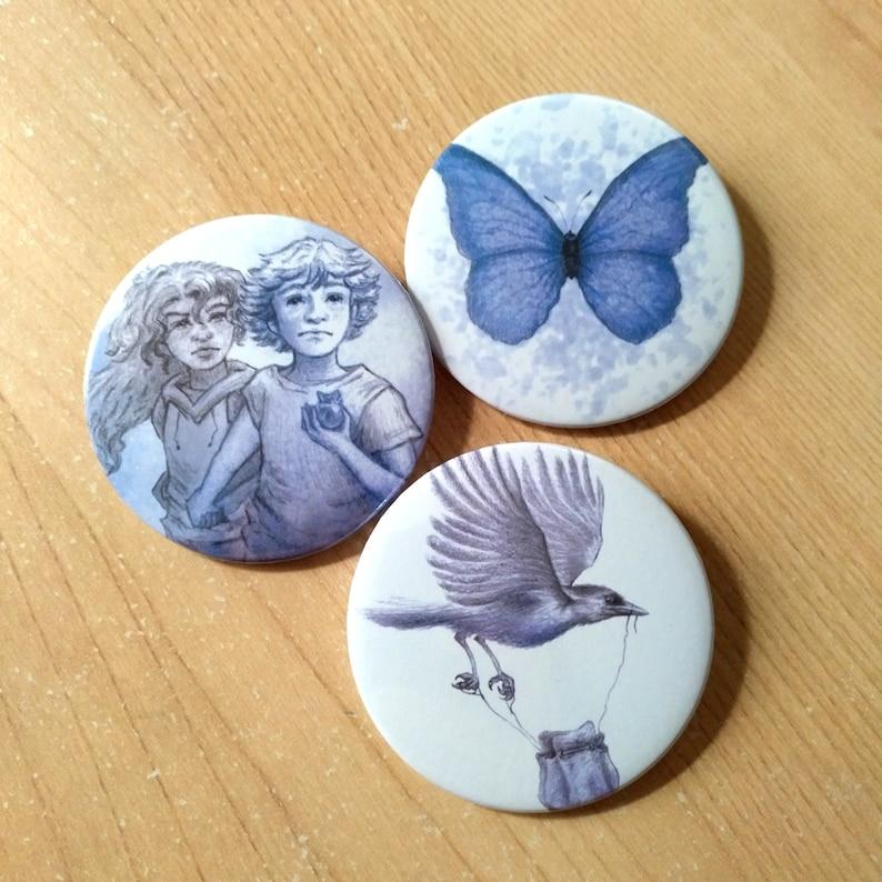 PACK of 3 badges  Children's illustration of fantasy and image 0