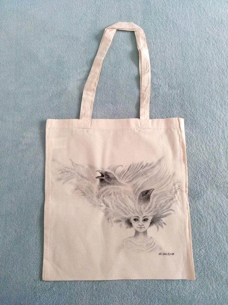 Tote Bag  Natural  100% Cotton  Fantasy Illustration  Lud image 0