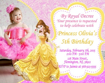 Belle birthday invitation digital invitation belle birthday etsy princess belle invitation birthday party filmwisefo