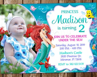 The Little Mermaid Invitation Ariel Birthday Party Digital