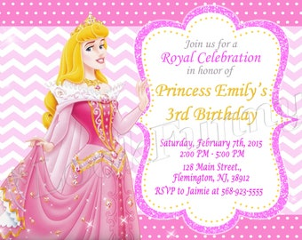 Sleeping Beauty Princess Aurora Invitation Disney Birthday Party Invite