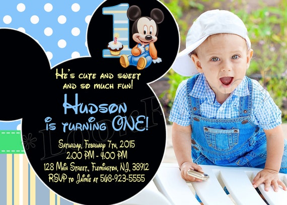 Baby Mickey Mouse First Birthday Invitation