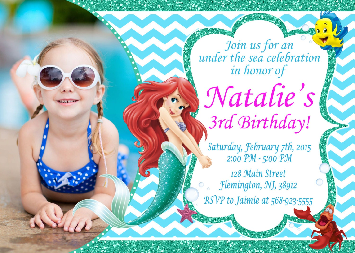 Little Mermaid Invitation Birthday Party Ariel