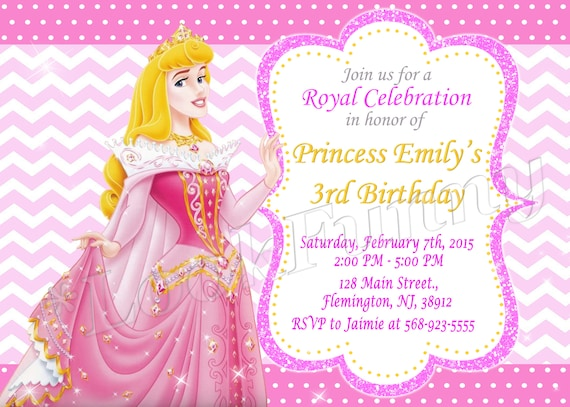 Sleeping Beauty Princess Aurora Invitation Disney