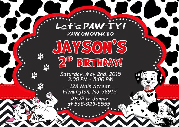 101 Dalmatians Invitation Birthday Party