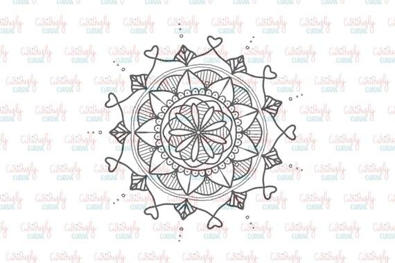 Mandala de coeur imprimer. 4 x 6.