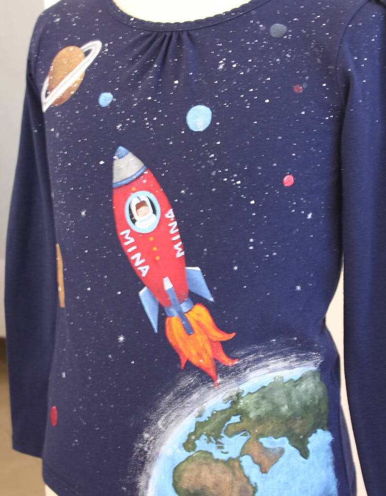 f0f55774c1af9 Hand Painted Girl s Outer Space T Shirt with Personalized
