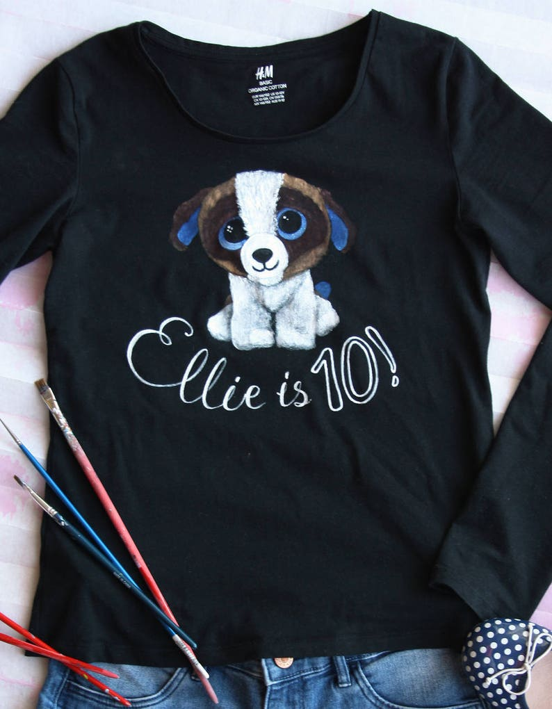 Personalized Girls Birthday Shirt Handpainted Puppy