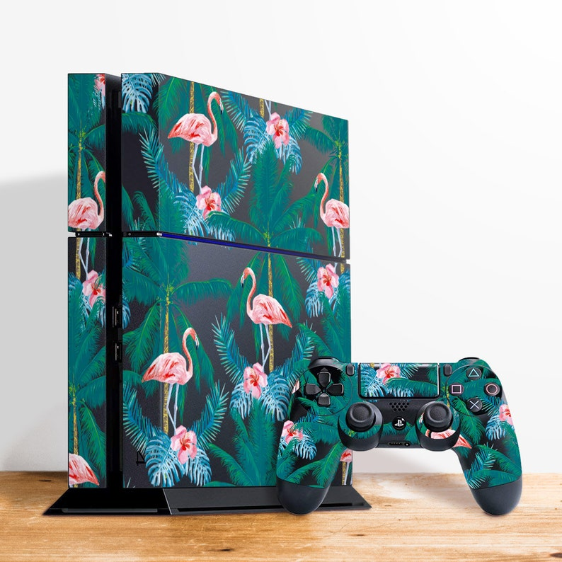 b06390ddd20c1 Flamingo Cover Palm Tree Decal PS4 Skins Console Skin Play Station 4 Bird  PS4 Stickers Tropical Cover Flower Bird Decal Palm Cover RS3331