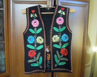 Trypillian Coat Jacket Womens Vyshyvanka Vest Trypillia Fashion Black Linen Embroidered Vest