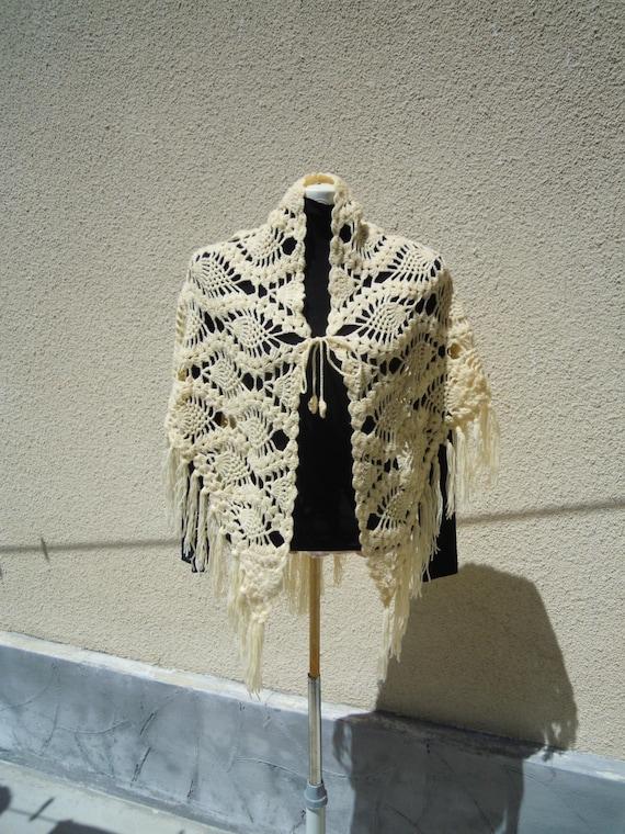 Lace shawl, Shawl with fringes, Triangular shawl,