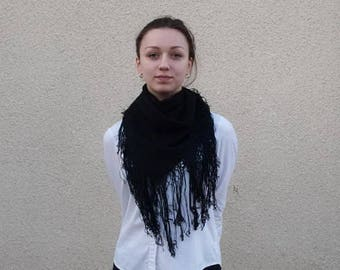Woolen shawl with Fringe. Womens shawl.