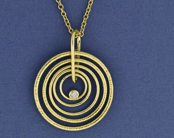 Holiday gift for Her, Yellow gold Floral circle pendant Solid 14k Gold and Blue Fluorite pendant