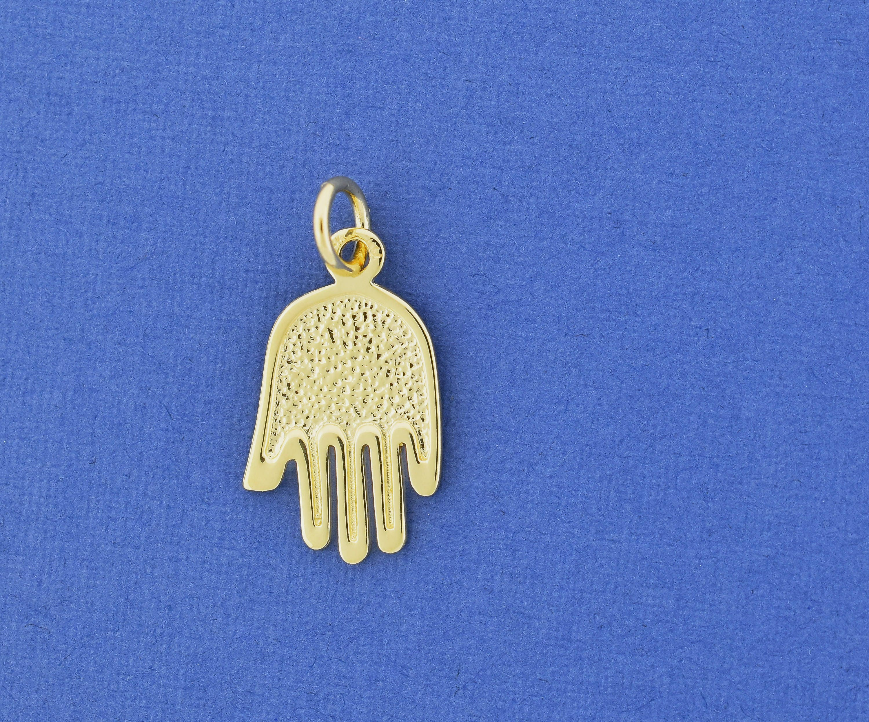 14k Solid Yellow Gold Textured Filigree Hamsa Hand of Fatima Pendant