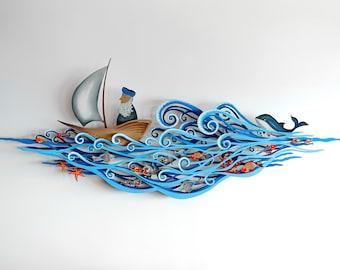 Sea Voyage Sculpture, 3D Laser Cut Metal Wall Art, House Gift, Living Room Decor