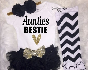 69489f799e79 Auntie s Bestie Baby Girl Outfit Baby Girl Clothing