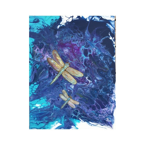 Hand Painted Canvas Dragonfly Lover Dragonfly Dot Canvas Art Dragonfly Mini Canvas Art Dragongly Wall Art Dragonfly Decor
