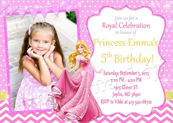 Sleeping Beauty Princess Aurora Invitation Birthday