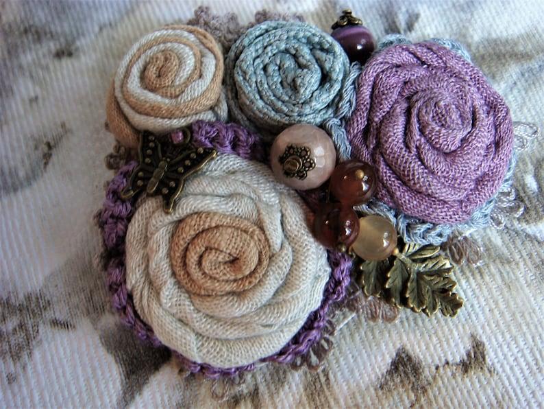 Boho style Boho Brooch Brooch Flowers textile Handmade Textile brooches