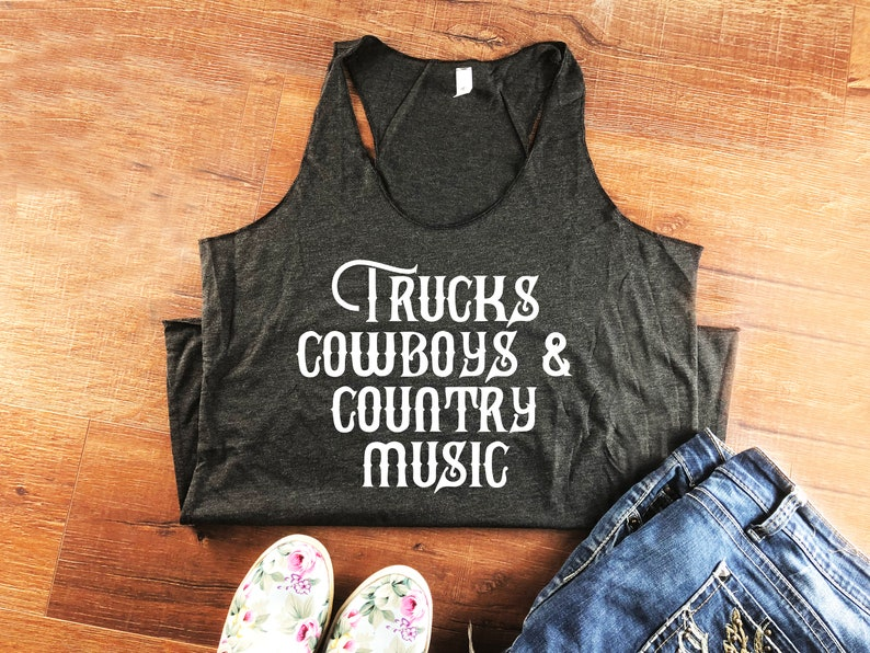 1b40f6a54d6236 Trucks Cowboys Country Music Ladies Shirt Tank Top