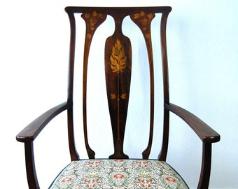 Antique upholstered Art Nouveau elbow chair / armchair with leaf marquetry inlay